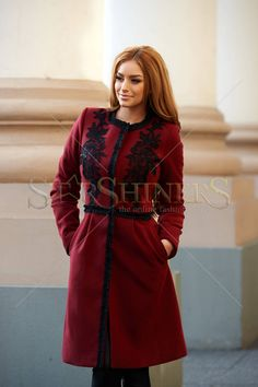 LaDonna Embroidered Fall Burgundy Coat a1483ad4d5