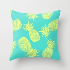 Pineapple Pattern - Turquoise & Lemon Throw Pillow by Tracie Andrews - Cover x with pillow insert - Indoor Pillow Pineapple Room, Pineapple Kitchen, Couch Pillows, Down Pillows, Throw Pillows, Cushion Cover Designs, Cushion Covers, Pineapple Pattern, Pillow Inserts