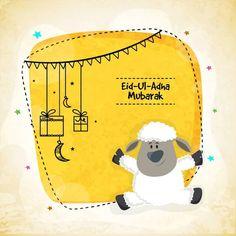 Vector greeting card design with cute Baby Sheep for Muslim Community, Festival of Sacrifice, Eid-Al-Adha Mubarak. Eid Mubarak Hd Images, Eid Ul Adha Images, Eid Images, Feliz Eid, Eid Al Adha Greetings, Adha Mubarak, Happy Eid Mubarak, Baby Sheep, For Facebook