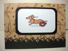 Wheeled Dachshund Note Card  Doxie  Sausage Dog  by CraftsByChar, $1.99