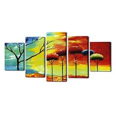 Hand Painted Oil Painting Landscape India's Scenery with Stretched Frame Set of 5 – USD $ 169.99