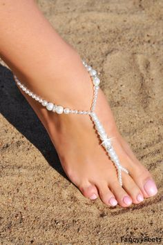 BOUGHT!! Barefoot Sandals, Beach wedding Barefoot Sandal, White Pearl Barefoot shoes, Jewelry Bridal Barefoot Sandals, barefoot shoe, footless sandal
