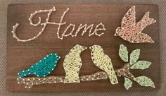 Home sign constructed out of nails and thread. The size of this listing is 42 cm x 24 cm x 1.6 cm, and is ready to hang. This item can be customized to suit your personal needs. You can choose the following (just mention what you would like in the notes when checking out): 1- Image 2-