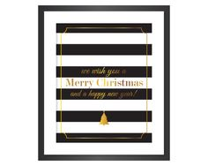 Christmas Printable Art - Instant Download Digital Art Print - Merry Christmas Happy New Year - Faux Gold Foil
