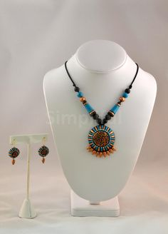 Terracotta Blue Necklace and Earring set