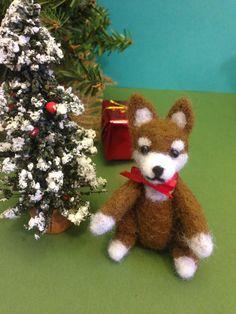 Needle felted Shia Inu Dog Christmas gift by weewooleybeasties