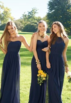 Natural beauties in navy! See our NEW chic collection of bridesmaids dresses now for your best gals! #CLVbridesmaids