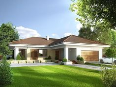Aksamit 4 on Behance Model House Plan, My House Plans, Bungalow House Plans, Bungalow House Design, Home Building Design, Home Design Plans, Building A House, 4 Bedroom House Designs, Cool House Designs