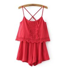 SheIn(sheinside) Criss Cross Back Lace Trim Cami Straps Playsuit (€23) ❤ liked on Polyvore featuring jumpsuits, rompers, red, summer rompers, boho romper, red romper jumpsuit, long-sleeve rompers and red jumpsuit