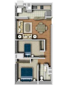 Planos de Casas y Plantas Arquitectónicas de Casas y Departamentos: Plano de distribución de Departamento con dos recámaras y un baño