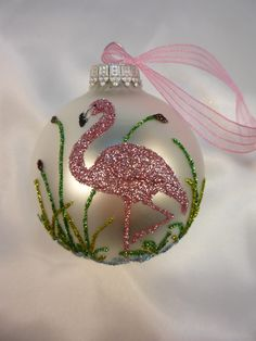 Unique Hand Crafted Pink Flamingo Bird on White Ornament - Florida Christmas Flamingo. $15.00, via Etsy.