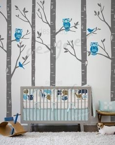 """When I saw this, I said, """"hey! Why not have one of those trees double as a measuring guide for your child's height?"""" and I would also pick a theme that grows with them. -a"""
