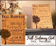 FREE Fall Subway Art Printables
