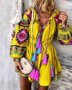 Fashion Women Boho Floral Long Sleeve Mini Dress Vintage Ladies V Neck Holiday Party Casual Autumn New Dress, Yellow / XL Estilo Fashion, Ideias Fashion, Quinceanera Dresses, Homecoming Dresses, Prom Dress, Mode Kimono, Estilo Hippie, Vestido Casual, Ethnic Print
