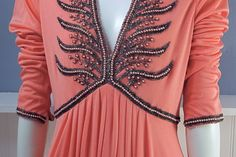Vintage Coral Beaded 70's Empire Waist Gown