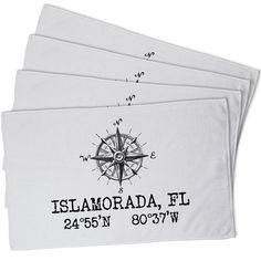 Custom Compass Rose Coordinates Hand Towel - White (Set of 4)