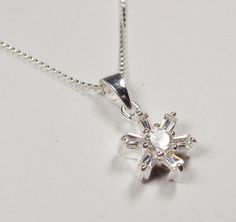STERLING SILVER SNOWFLAKE ICICLE WITH WHITE STONES HOLIDAY PENDANT NECKLACE #Unbranded #Pendant