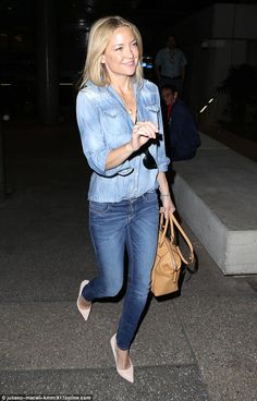 True blue: Kate Hudson was the latest star to submit to wearing a double denim combination...