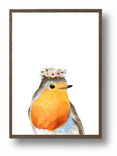 Watercolor robin with flower crowned, Woodland nursery set, Animal Paintings, robin, nursery decor, woodland, kids posters