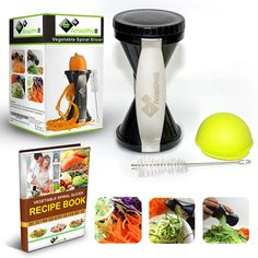 Vegetable Spiralizer Complete Bundle - Spiral Slicer comes with FREE Spiral Recipe eBook & FREE Silicone Soda Can Lid, 300 plus Amazon Reviews