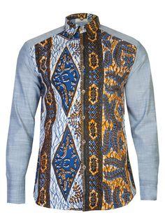 Denim Long sleeve African print shirt 'Bethlehem' - OHEMA OHENE AFRICAN INSPIRED FASHION  - 1