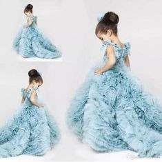 Ice Blue Princess Flower Girl Pageant Gowns Tiers Organza Cute Runway Fashion Gowns Court Train Lovely Child Cupcake Dresses