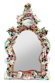 Mirror, mirror on the wall, you are the prettiest of them all!   MAGNIFICENT 19TH C. GERMAN PORCELAIN MIRROR