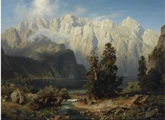 August Wilhelm Leu Mountain Landscape - The Largest Art reproductions Center In Our website. Low Wholesale Prices Great Pricing Quality Hand paintings for saleAugust Wilhelm Leu Fantasy Landscape, Landscape Art, Landscape Paintings, Fantasy Artwork, Southwest Art, Traditional Landscape, Mountain Paintings, Paintings I Love, Mountain Landscape