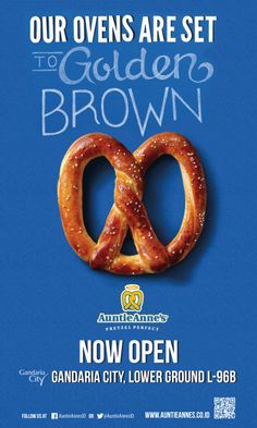 NOW OPEN!! Auntie Anne's Gandaria City Lower Ground Floor! Let's have a Pretzelicious moment, everyone! :)