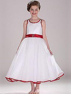 Ribbon Trimmed Sleeveless Organza over Satin Flower Girl Dress - USD $49.99