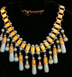 Vtg MIRIAM HASKELL Signed Collar Necklace Large Tear Drop Beads on Book -Cain