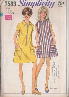 MOMSPatterns Vintage Sewing Patterns - Simplicity 7583 Vintage 60's Sewing Pattern SUPER CUTE Mod Jumbo Zipper Front Tent Flared House Dress, Summer Beach Dress, Nehru or Pointed Collar
