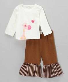 An oh-so-sweet animal appliqué brings the awws every time the little one wears this coordinated set. Made of soft pima cotton, it features ruffly pants that bring the cute. A snap on the neck and elastic waistband make both pieces comfy to wear and easy to change.