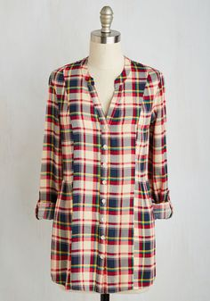 Trusty Travel Top in Red Plaid by ModCloth - Red, Multi, Plaid, Print, Buttons, Casual, 90s, Long Sleeve, Fall, Woven, Better, Exclusives, Private Label, V Neck, Vintage Inspired