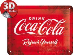 Coca-Cola Tin Sign - Logo Red Refresh Yourself Targa in alluminio