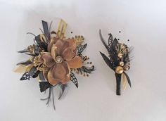 Great Gatsby Gold & Black Prom Corsage Ready To Ship by justanns