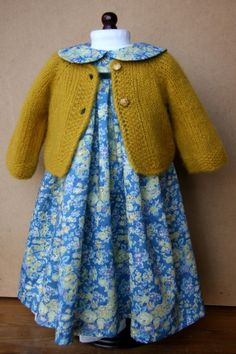 "Liberty Print Dress and Cashmere Cardigan for an 18"" doll"
