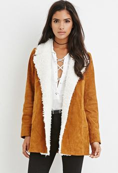 FOREVER 21 Faux Shearling-Trim Genuine Suede Coat