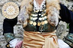 Macedonian traditional clothes, Edessa, historical Macedonia, Greece Macedonia Greece, Costumes Around The World, Alexander The Great, Traditional Clothes, Greeks, Headpiece, Fur Coat, Jackets, Jewelry