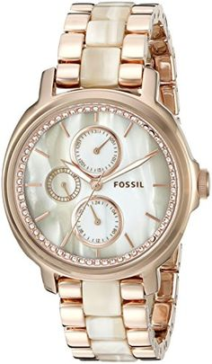 Fossil Women's Rose Gold-Tone Stainless Steel and Faux-Horn Watch >>> Read more at the image link. Stylish Watches, Luxury Watches, Or Rose, Rose Gold, Boyfriend Watch, Watches Photography, Fossil Watches, Beautiful Watches, Fashion Watches