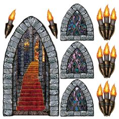 Party Supplies Game Of Thrones Medieval Castle Stairway Window Torch Props Party Decorations & Garden Birthday Harry Potter, Theme Harry Potter, Party Wall Decorations, Halloween Decorations, Party Themes, Medieval Decorations, Minecraft Decorations, Party Props, Castle Decorations