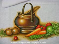Pintura em Tecido e Artesanato: Cobre e legumes...Pintura em Panos de Copa/Prato