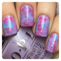 Dry brush mani using OPI Infinite Shine In Pursuit of Purple, From Here to Eternity, and To Infinity & Blue-yond from the Infinite Shine line.  I received the OPI products as part of #PreenMeVIP program.