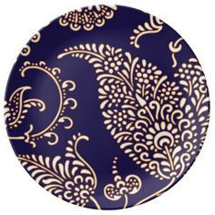 Navy cobalt blue paisley print chic girly floral vintage henna wallpaper pattern vintage retro yet modern preppy porcelain plate.