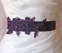 Dark Purple Lace Bridal Sash, Eggplant Purple Lace Bridal Belt, Bridesmaid, Royal Purple Sash - CANDACE