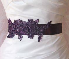 Dark Purple Lace Bridal Sash, Eggplant Purple Lace Bridal Belt, Bridesmaid, Royal Purple Sash - CANDACE