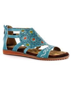 1aee4af17decc7 Loving this Turquoise Floral Leather Sandal - Women on  zulily!   zulilyfinds Gladiator Sandals