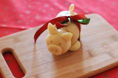 Homemade marzipan pig