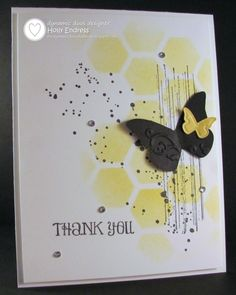 Grungy Hive for Dynamic Duos / Stampin' Up! Card Making Inspiration, Making Ideas, Cool Cards, Diy Cards, Sympathy Cards, Greeting Cards, Hexagon Cards, Butterfly Cards, Butterfly Wings