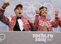 Elena Ilinykh and Nikita Katsalapov of Russia react in the results area after competing in the ice dance short dance figure skating competit...